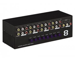 Panlong® 8-Way AV Switcher Box 3RCA Composite Video L/R Audio Switch Selector 8 In 1 Out